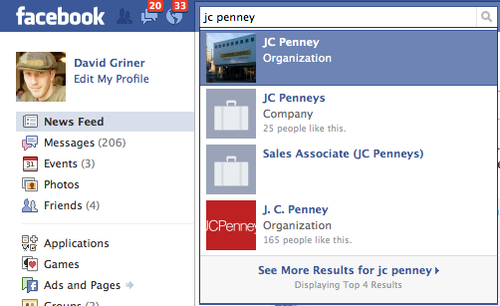 JCPenny Community Page in Facebook search