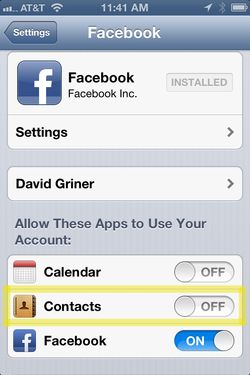 Facebook contacts